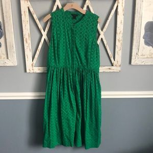 J. Crew | Green A-Line Eyelet Dress with Pockets